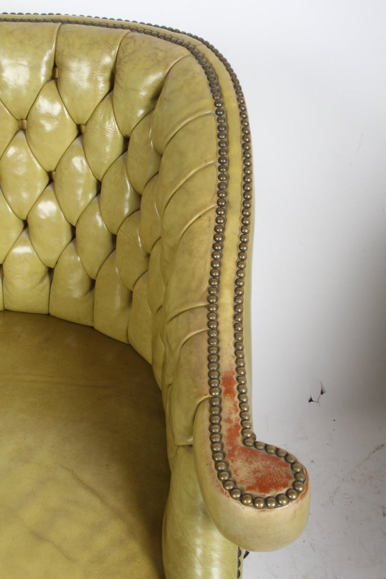 Pair of Baker Mid-Century Leather Tufted Lounge Chairs For Sale 5