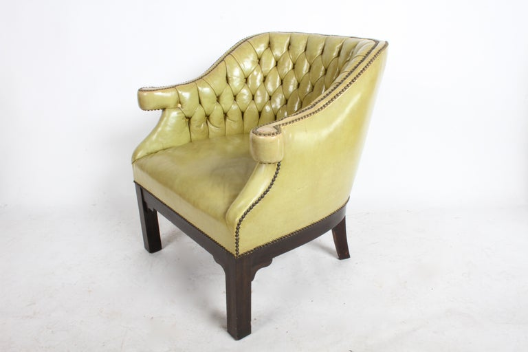 Pair of Baker Mid-Century Leather Tufted Lounge Chairs For Sale 6