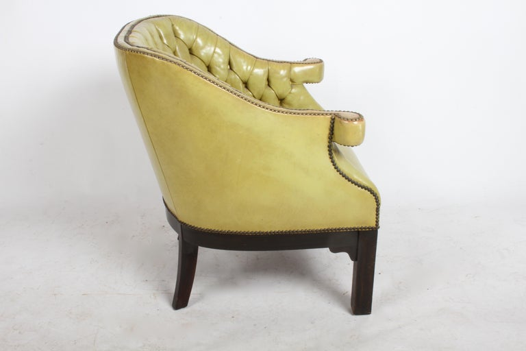 Pair of Baker Mid-Century Leather Tufted Lounge Chairs For Sale 8
