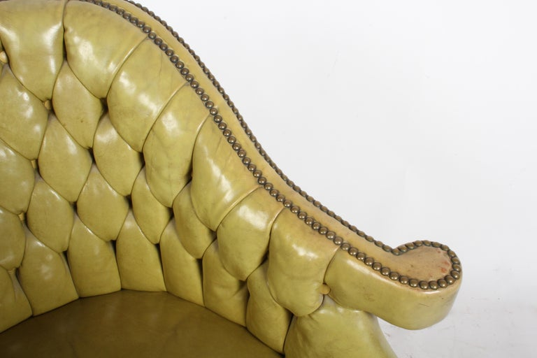 Pair of Baker Mid-Century Leather Tufted Lounge Chairs For Sale 9