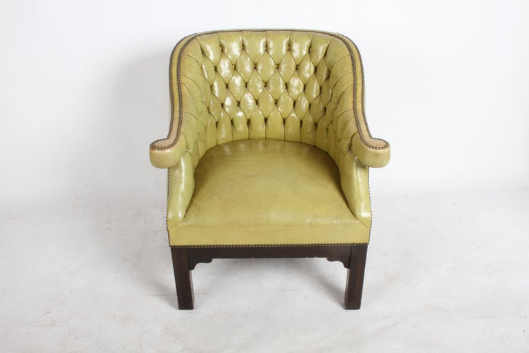 Pair of Baker Mid-Century Leather Tufted Lounge Chairs For Sale 10
