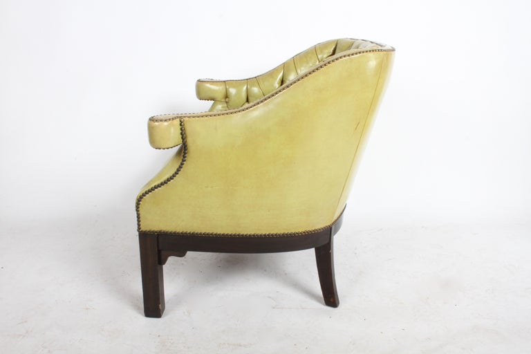 Pair of Baker Mid-Century Leather Tufted Lounge Chairs For Sale 11