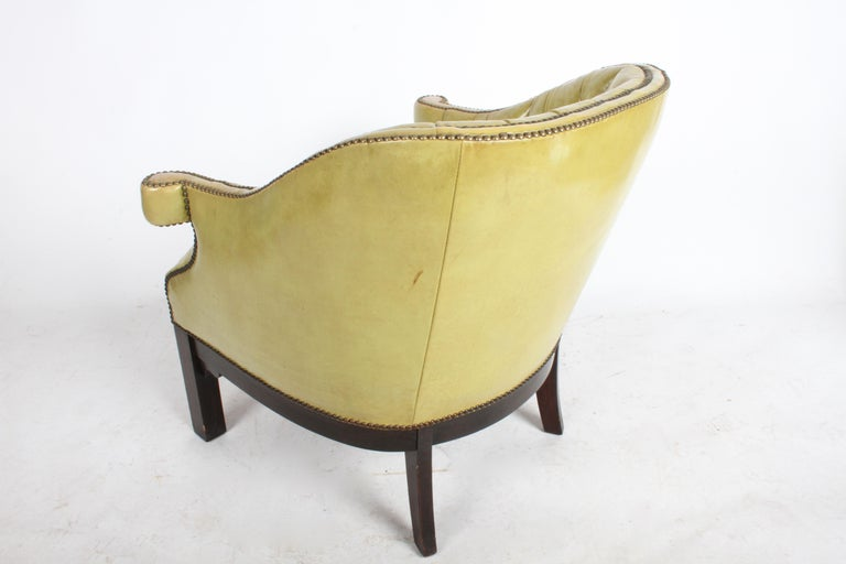 Pair of Baker Mid-Century Leather Tufted Lounge Chairs For Sale 12