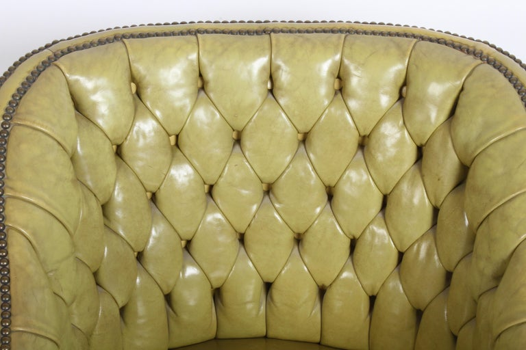 Pair of Baker Mid-Century Leather Tufted Lounge Chairs For Sale 13