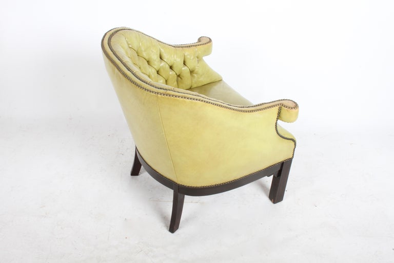 Pair of Baker Mid-Century Leather Tufted Lounge Chairs For Sale 2