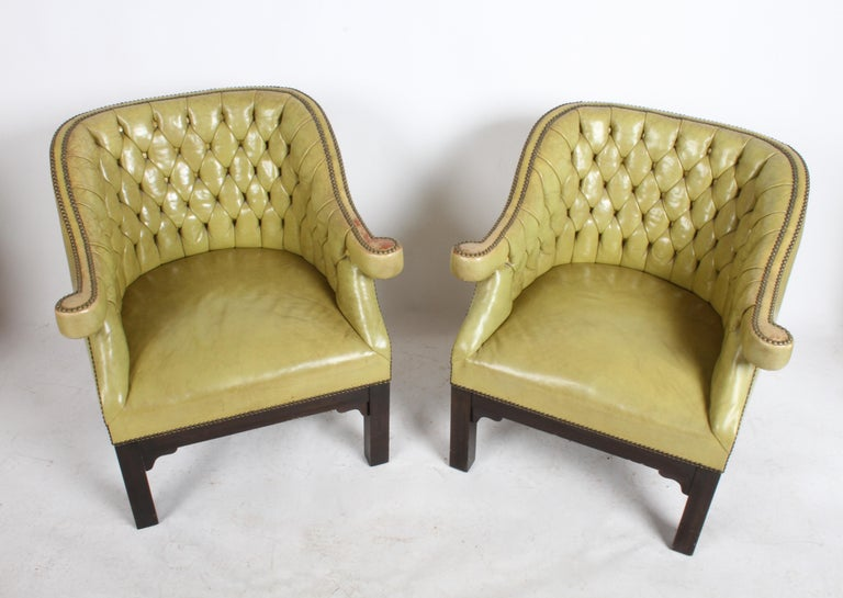 Pair of Baker Mid-Century Leather Tufted Lounge Chairs For Sale 3