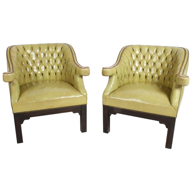 Pair of Baker Mid-Century Leather Tufted Lounge Chairs For Sale