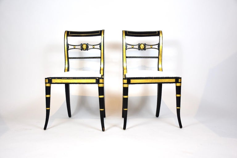 Ebonized Pair of Baker Neoclassical Style Chairs For Sale