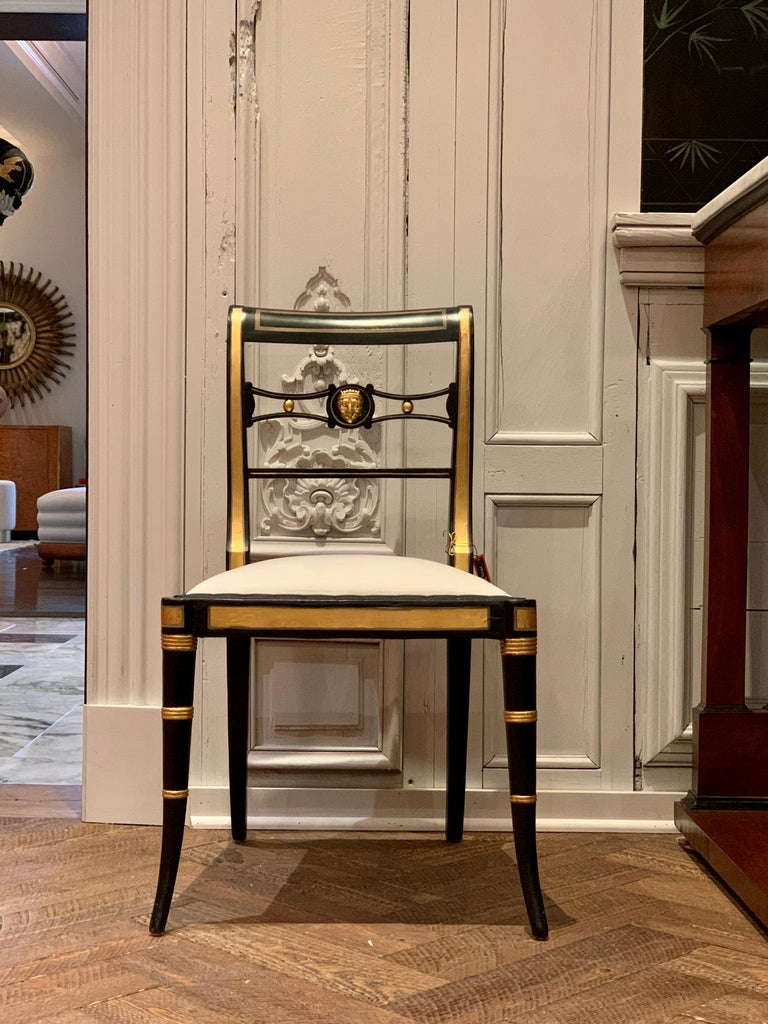 Pair of Baker Neoclassical Style Chairs In Good Condition For Sale In Houston, TX