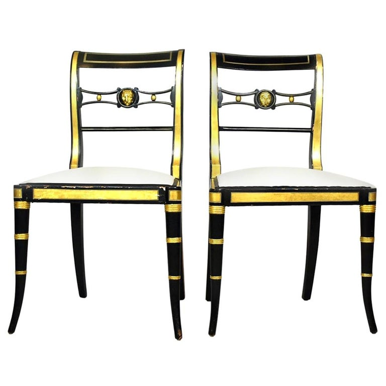 Pair of Baker Neoclassical Style Chairs For Sale