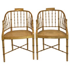 Pair of Baker Regency Style Faux Bamboo Caned Armchairs