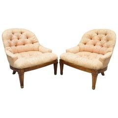 Pair of Baker Tufted Barrel Back Slipper Salon Lounge Chairs Brass Feet
