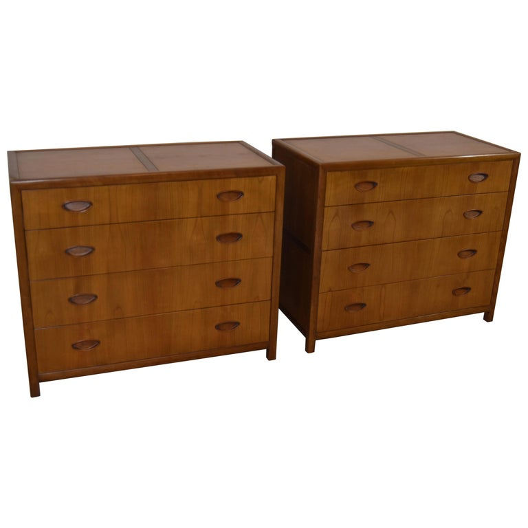 Pair of Baker Walnut Chests/Dressesr New World Collection Att. to Michael Taylor