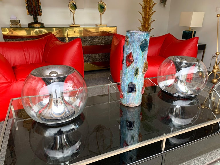 Pair of Ball Lamps Metal and Glass T417 by Luci, Italy, 1970s For Sale 5
