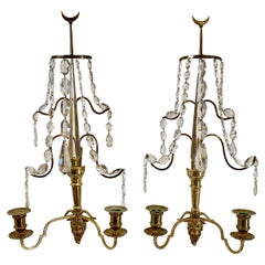 Pair of Baltic or Russian Fire Gilt Bronze Two-Arm Wall Sconces, circa 1810