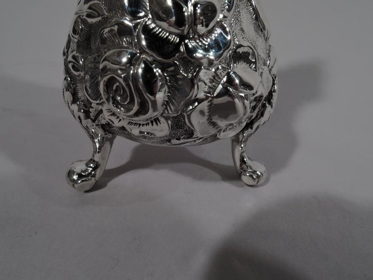 American Pair of Baltimore Repousse Sterling Silver Salt and Pepper Shakers For Sale
