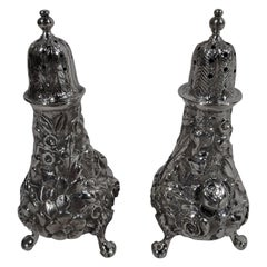 Pair of Baltimore Repousse Sterling Silver Salt and Pepper Shakers