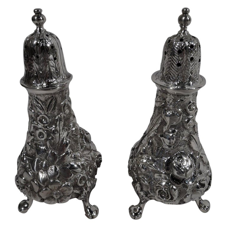 Pair of Baltimore Repousse Sterling Silver Salt and Pepper Shakers For Sale