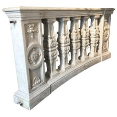 Pair of Balustrades in Carrara Marble, France Late 18th Century