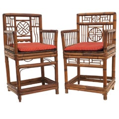Pair of Bamboo '20th Century' Armchairs