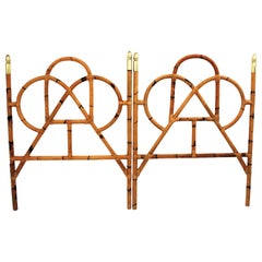 Pair of Bamboo and Brass Twin Headboards