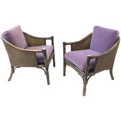Pair of Bamboo and Cane Lounge Chairs by McGuire