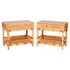 Pair of Bamboo and Grasscloth Stands or End Tables