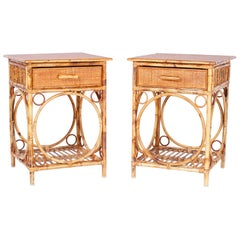 Pair of Bamboo and Grasscloth Tables or Stands
