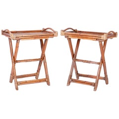 Pair of Bamboo and Grasscloth Trays on Stands
