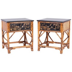 Pair of Bamboo and Lacquer Stands or Tables