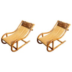Pair of Bamboo and Leather Sling Chairs with Hide and Bamboo Head Pillow