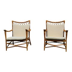 Pair of Bamboo and Rattan Armchairs, France, 1960s
