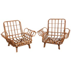 Pair of Bamboo and Rattan Italian Armchairs after Gabriella Crespi, 1950s