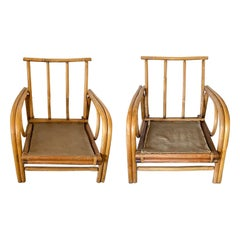 Pair of Bamboo and Rattan Lounge Chairs