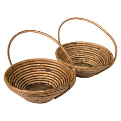 Pair of Bamboo and Rattan Midcentury Bowls, 1970s