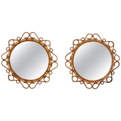 Pair of Bamboo and Rattan Round Mirrors with Scroll Details, Spain, 1960s