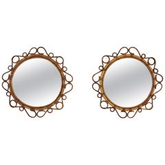 Rattan Round Mirrors with Scroll Details, Pair