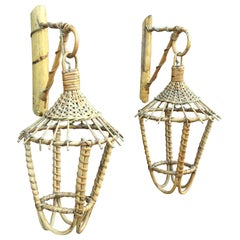 Pair of Bamboo and Rattan Sconces, circa 1950