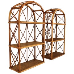 Pair of Bamboo and Rattan Wall Shelves with Round Tops