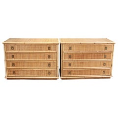 Pair of Bamboo and Wicker Credenzas from Dal Vera, circa 1960s