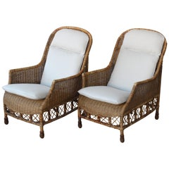 Pair of Bamboo and Wicker Lounge Chairs, Italy, 1960s