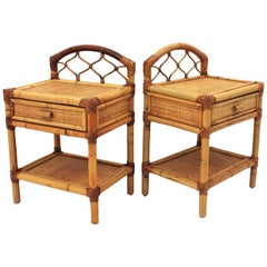 Pair of Bamboo and Woven Rattan Nightstands End Tables or Small Chests, 1970s