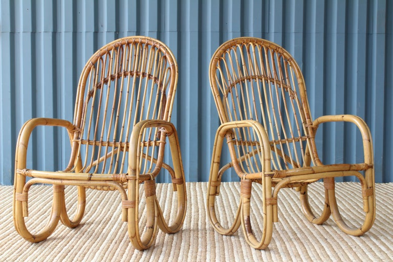 Pair of 1960s Italian bamboo armchairs in the manner of Franco Albini.
