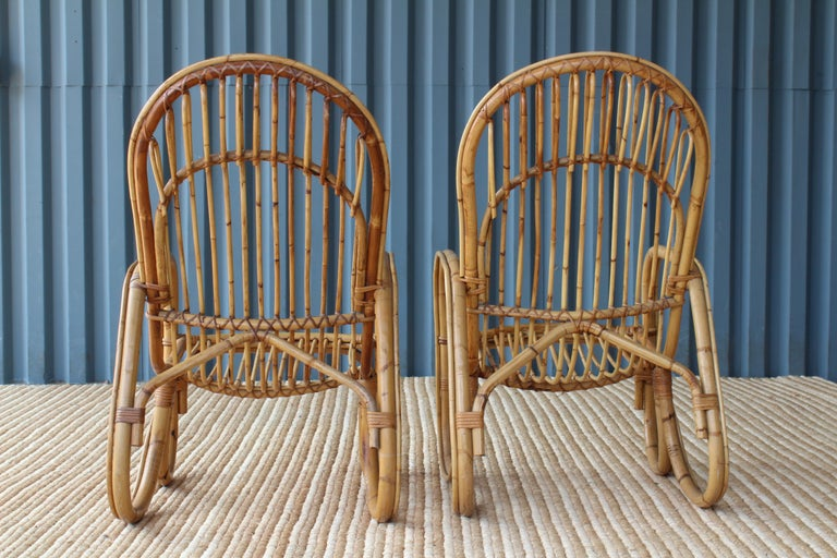 Italian Pair of Bamboo Armchairs in the Style of Franco Albini, 1960s, Italy For Sale
