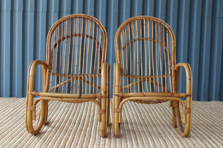 Pair of Bamboo Armchairs in the Style of Franco Albini, 1960s, Italy For Sale 3