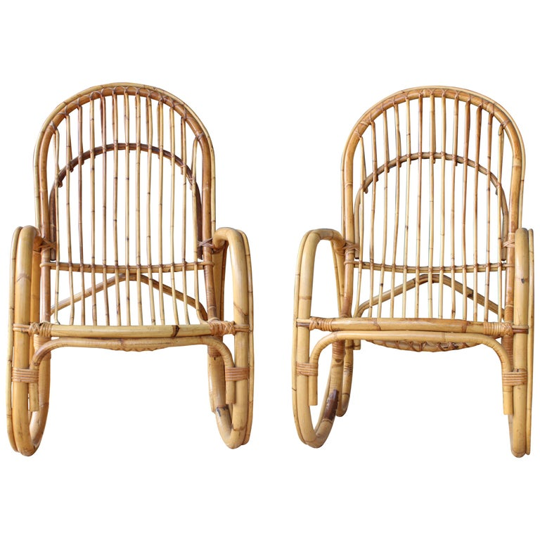 Pair of Bamboo Armchairs in the Style of Franco Albini, 1960s, Italy For Sale