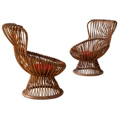 Pair of Bamboo Armchairs Margherita by Franco Albini