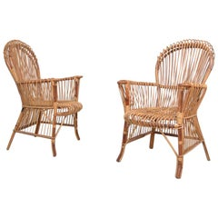 Pair of Bamboo Armchairs, Italy, 1970
