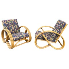 Pair of Bamboo Art Deco Pretzel Lounge Chairs Attributed to Paul Frankl