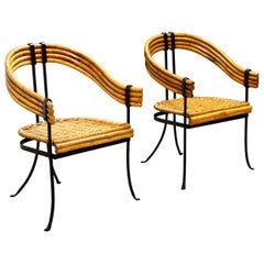 Pair of Bamboo, Black Iron and Rattan French Modernist Armchairs, circa 1940s